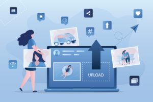 Cartoon image of internet social media platforms