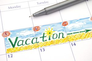 """Calendar with a week labeled """"vaction"""""""